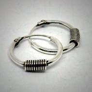 CR099 Silber Bali Creolen mit Spirale silber 10mm