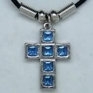 MK012 Ketten Kreuz 6 Steine blau