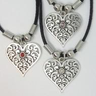 MK030 - Ketten Herz filigran mit Stein 3 farben