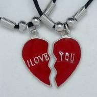 MK053 Freundschaftsketten, Ketten I Love You geteilt rot