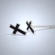 OS028 Ohrstecker aus Silber Kreuz schwarz