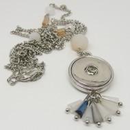 CHK015 - Kette für Schmuck Druckknöpfe lang mit Quaste aus Perlen