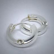CR058 Creolen eckig aus Silber mit Stein weiss 10mm