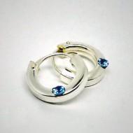 CR059 Creolen eckig aus Silber mit Stein hellblau 10mm