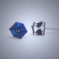 OS162 Ohrstecker aus Silber Würfel Swarovski kristal blau k.
