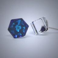 OS164 Ohrstecker aus Silber Würfel Swarovski kristal blau gr.