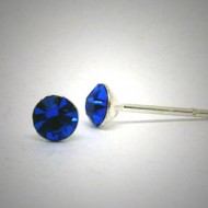 OS138 Ohrstecker aus Silber Stein dunkelblau