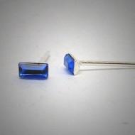 OS154 Ohrstecker aus Silber Stein rechteck dunkelblau