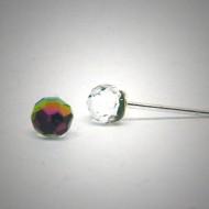 OS158 Ohrstecker aus Silber fassetierte Kugel Swarovski kristal rosa s.