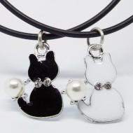 KC009 - Modeschmuck Ketten Katzen schwarz u. weiss