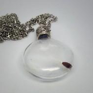 GK003 - Ketten Glasflasche mit Pusteblumensamen rund
