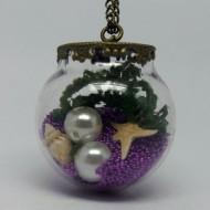 GK006 - Vintage Ketten Glaskugel unter Wasser Motiv lila
