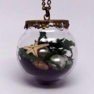 GK009 - Vintage Ketten Glaskugel unter Wasser Motiv schwarz