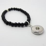CHA017a - Armbänder mit Anhänger für Schmuck Druckknöpfe Perlen schwarz