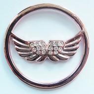 MS014 - Sammelmedallions Flügel m. Glitzersteinen 33mm