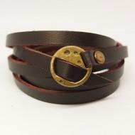 AB106 - Wickelarmband aus Leder dunkelbraun mit Schnalle