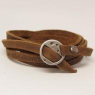 AB107 - Wickelarmband aus Leder braun mit Schnalle