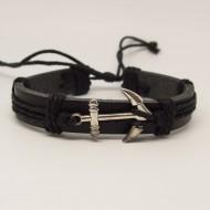 AB108 - Leder Armbänder mit Anker schwarz