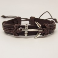 AB109 - Leder Armbänder mit Anker braun
