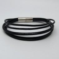 AB113 - Leder Armbänder schwarz 5 reihig mit Magnetverschluß