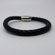 AB118 - Leder Armbänder rund geflochten schwarz mit Magnetverschluß