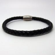 AB119 - Leder Armbänder gr., rund geflochten schwarz mit Magnetverschluß