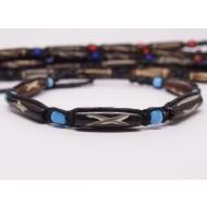 AB034 - Armbänder Makramee Knochen u.Glas Perlen