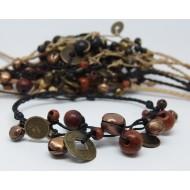 AB046 - Armbänder Makramee Chinesische Münzen m.Glöckchen