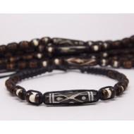 AB078 - Armbänder Makramee 1 Knochenperle dunkel schmal