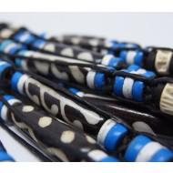 AB042 - Armbänder Makramee Knochen u. Fishknochen blau
