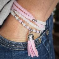 AG003 Mehrreihige Armbänder mit Velours Quaste rose