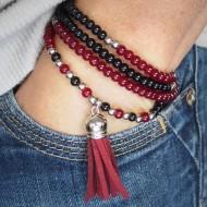 AG002 Mehrreihige Armbänder mit Velours Quaste rubin