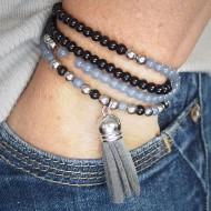 AG001 Mehrreihige Armbänder mit Velours Quaste grau