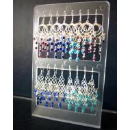 OD012 - Display Ohrhänger 925er Silber mit Glas- u. Steinperlen