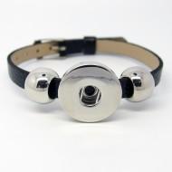 CHA020a - Kunstleder Armbänder für 1 Schmuck schwarz schmal