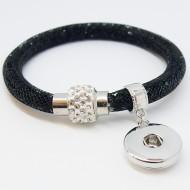 CHA021 - Armbänder mit Anhänger für Schmuck Druckknöpfe glitzer schwarz weiss