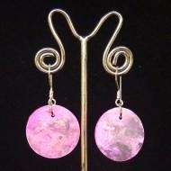 PM006 Perlmutter Ohrhänger rosa Scheiben