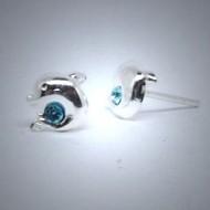 OS094 Ohrstecker aus Silber Delfin blau