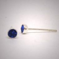 OS211 Ohrstecker aus Silber - Stein dunkel blau