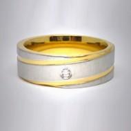STR082 Edelstahlringe silber/gold gestreift mit Stein