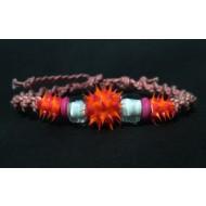 UVA002_5 UV Armbänder aus Makramee (pink/orange)